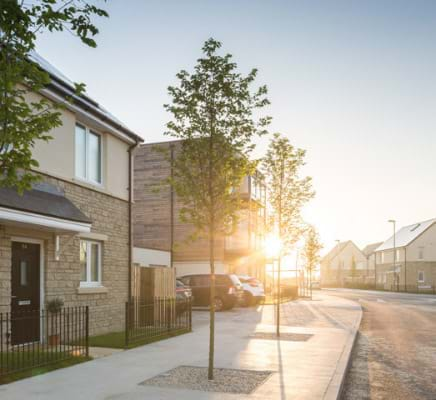 Sunrise on a new housing development